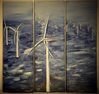 Windmills on the sea, triptych =3x 20x60cm, sold
