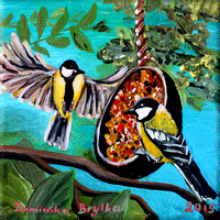 Great titmouse birds, 20x20cm, sold